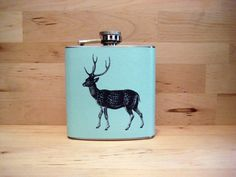 6 oz Stainless Steel Flask Woodland Deer by whimsyandink on Etsy, $17.95