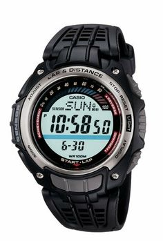 Casio Men's SGW200-1VCF Pedometer Resin Strap Watch Casio. $41.45. Running Measurements: Distance, Energy, Consumption, Average Pace and Number of Steps. Water-resistant to 330 feet (100 M). Quality Japanese-quartz movement. EL backlight with Afterglow; black resin strap. World Time; stopwatch; countdown Timer