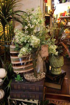 faux water floral arrangement in whiteswww.EvergreenMfg.net