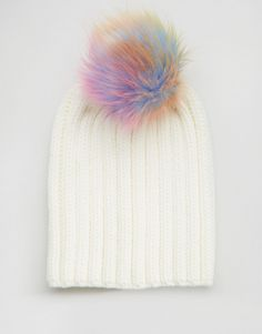 900f1fce6a3f7 7X Knitted Beanie Hat With Rainbow Faux Fur Pom Pom at asos.com