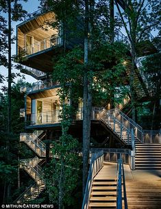 The Sustainability Treehouse in West Virgina was opened in 2013 and was designed by Mithun Architects. The treehouse sits at the edge of the Appalachian forest within the 10,600 acres of the Summit Bechtel Reserve, and serves as a centre for the Boy Scouts of America