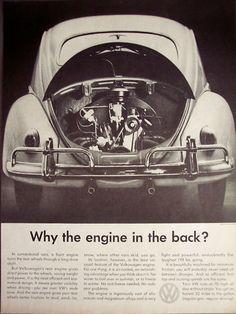 Volkswagen Car Engine in The Back Vintage 1959 Ad
