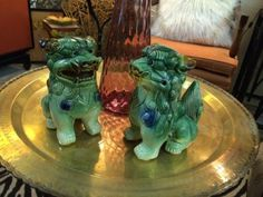 Green Foo Dogs   Signed  $45 Pair  Eclectic Treasures Booth #8279  Lula B's  1010 N. Riverfront Blvd. Dallas, TX 75207