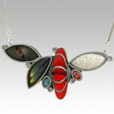 www.AtopTheTable.com - 3D Intricate Seed Pods Necklace Contrasting Polymer Clay by Wiwat Kamolpornwijit