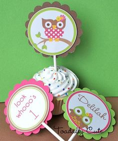 Owl Cupcake Toppers personalized set of 12 by ToadallyCuteParties, $10.00
