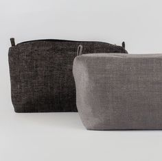 Large Cosmetic Bag Black Linen Fabric Cosmetic Bag by ThingStore