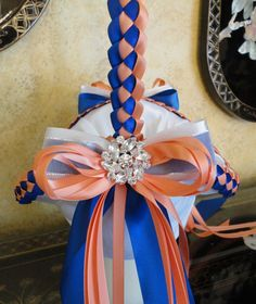 Wedding Flower Girl Basket Coral Royal Blue & by SisiCreations, $50.00