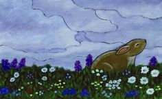 Rabbit Hides In Shadow  Under Cloudy Skies Waiting for the Moonlight Blinking Sleepy Eyes                                      *from Moonlight                                        By Helen                                          Griffiths