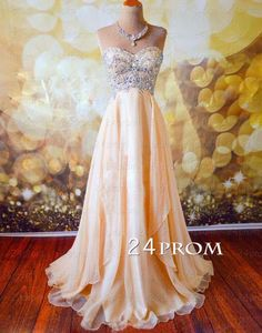 Champagne A-line Sweetheart Chiffon Long Prom Dress, Formal Dresses #prom #promdress