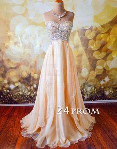 Champagne A-line Sweetheart Chiffon Long Prom Dress, Formal Dresses #prom #promdress
