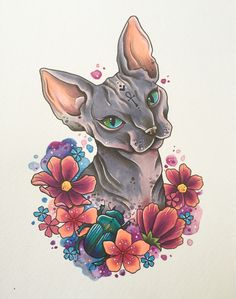 Sphynx cat tattoo print, hairless cat, gifts for cat lovers, egyptian art, Tattoo Design Drawings, Outline Drawings, Tattoo Designs, Cat Outline, Tattoo Ideas, Sketch Tattoo, Sphynx Cat Tattoo, Tattoo Cat, Cat Tattoos