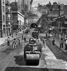 Repaving Third Street near Figueroa in L.A., March 1944. (Photo: Los Angeles Times)