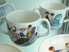 Stig Lindberg mugs by P-E Fronning Ceramic Tableware, Porcelain Ceramics, Ceramic Pottery, Stig Lindberg, Nordic Design, Mid Century Design, Retro, Textile Design, Tea Pots