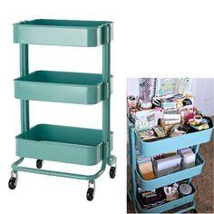 New Ikea Raskog Kitchen Cart Organizer With Wheels Mobile Storage Turquoise