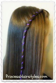 Candy stripe ribbon waterfall braid tutorial