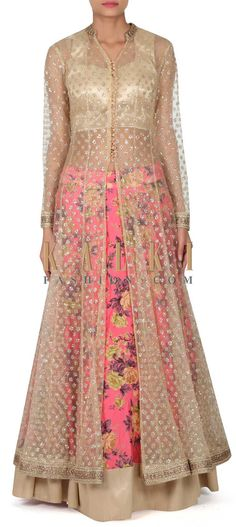 Buy this Pink printed lehenga with shimmer jacket only on Kalki