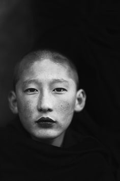 androphilia: Monk at a monastery in Bhutan by Feije Riemersma འབྲུག་ཡུལ་ | Portrait - Black and White - Photography