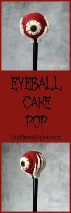 If you like creepy, youre going to love this Eerie Eyeball Cake Pop. Because skeleton hands are holding it. Now you can find out how to make it too! ~ The Partiologist baking halloween Halloween Cake Pops, Halloween Sweets, Halloween Baking, Theme Halloween, Halloween Food For Party, Halloween Cookies, Creepy Halloween, Halloween Foods, Halloween Crafts