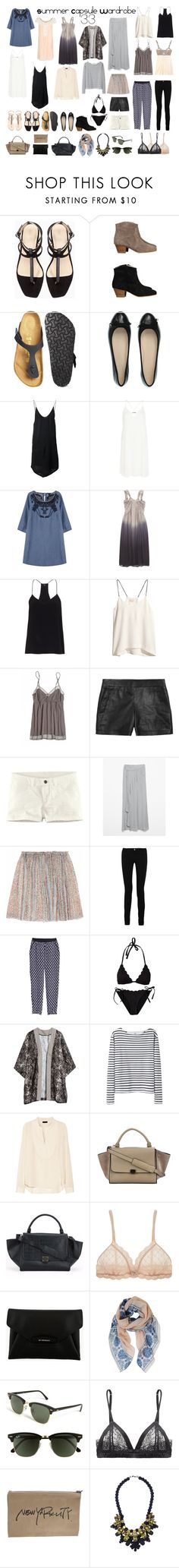 """CAPSULE WARDROBE: Summer 33"" by rocknrollchic ❤ liked on Polyvore featuring Zara, Birkenstock, MaxMara, IRO, River Island, Maison Scotch, DAY Birger et Mikkelsen, TIBI, H&M and Calypso St. Barth"