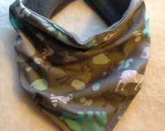 Woodland Animals Bandana Bib for Baby & Toddler Scarf girls boys unisex Feeding Drool Catcher Forest Creatures Bandanna Grey Teal Aqua Blue