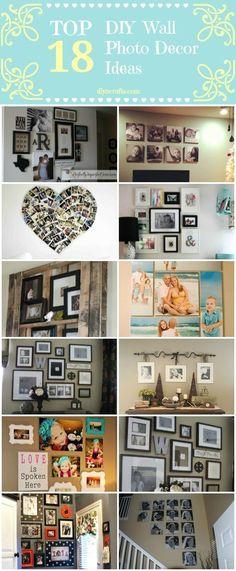 Top 18 DIY Wall Photo Decor Ideas. Love the heart one. :-) Bianca@itti