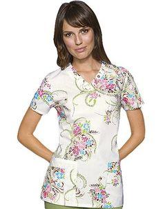 classic Missy fit v-neck Persian Eligance printed scrubs by Dickies #scrubs #Dickies