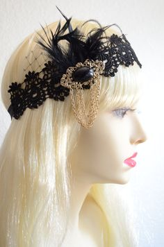 LAST TWO,Best Seller,Black and Gold flapper,black and gold brooch,black headpiece,boho headband,1920s headpiece,1930s black lace