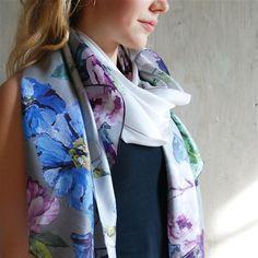 Alexandria Cobalt Silk Scarf