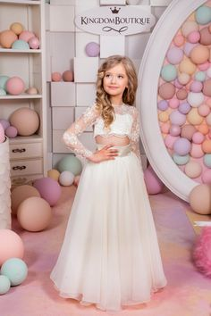 Items similar to Ivory Flower Girl Dress - Birthday Wedding Party Holiday Bridesmaid Flower Girl Ivory and Tulle Lace Dress on Etsy Prom Party Dresses, Birthday Dresses, 15 Dresses, Satin Dresses, Girls Dresses, Dress Party, Dresses Online, Cheap Flower Girl Dresses, Little Girl Dresses