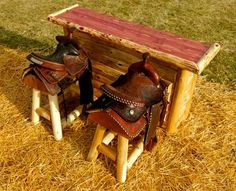 set of 2 authentic western horse saddle bar by