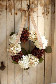 pretty dried hydrangas & ribbon