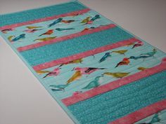 Quilted Table Runner  Springtime Birds  Aqua and by VillageQuilts