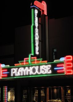 Circuit Playhouse, Memphis, Tennessee Memphis Tennessee, Old Signs, Theatres, Movie Theater, Neon Lighting, Sign Design, Play Houses, Nifty, Light Up