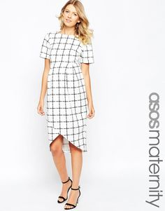 ASOS Maternity | ASOS Maternity Wrap Wiggle Dress In Scuba With Grid Check Print at ASOS