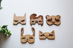 Mask Magnet Set - Set of 5 Alder Wood Laser Cut Collectable Magnets