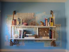 Map wall and hanging shelf