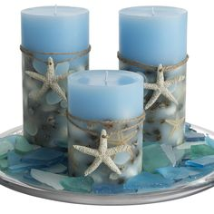 Scented Seashell Candles. Everyone needs a Nautical bathroom!