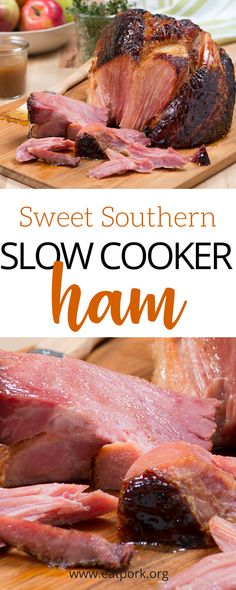 """Let's spice that easy slow cooker ham up a little with BOURBON!) Check out this super simple ham recipe that includes some of our favorites like dark brown sugar Kentucky bourbon honey and more! Best news? Only 7 ingredie Slow Cooker Ham Recipes, Crockpot Dishes, Crock Pot Slow Cooker, Crock Pot Cooking, Pork Dishes, Pork Recipes, Cooking Recipes, Crock Pot Ham, Ham In Slow Cooker"