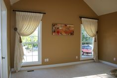 These tied back drapes are perfect in the living room.