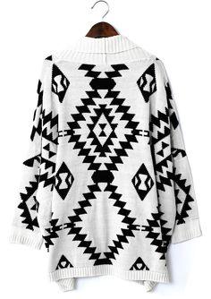 Aztec Open Knit Cardigan//