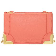 Foley & Corinna Framed Petite Leather Crossbody ($50) ❤ liked on Polyvore featuring bags, handbags, shoulder bags, coral, crossbody handbags, genuine leather handbags, leather purse, chain strap purse and crossbody purse