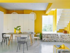Yellow walls meet stark-white furnishings and colourful terrazzo fixtures inside House P in Beijing, which has been overhauled by MDDM Studio. Apartment Chic, Apartment Renovation, Apartment Interior, Interior Stairs, Apartment Living, Terrazzo, Built In Furniture, White Furniture, Grande Armoire