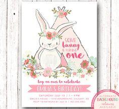 1st Birthday Invitation Bunny Birthday Invitation Boho