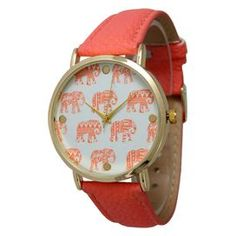"""The perfect accent for work apparel and casual weekend ensembles, this charming watch features a leather band and a tribal elephant-print face.   Product: WatchConstruction Material: Alloy, stainless steel, leather and glassColor: CoralFeatures:  Adjustable buckleGlass has a protective mineral coatingTribal elephant-print face Accommodates: Battery - includedDimensions: 9"""" W x 0.75"""" D (flat)"""