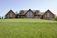 Exterior, horizontal, rear elevation straight on, Swift residence, Honest Abe Log Homes, Allgood, TN