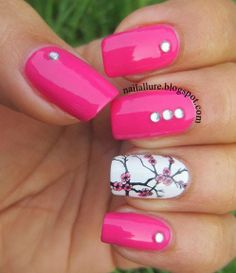 My Nail Files: Hot Pink Manicure with a cherry blossom accent - GOT Polish