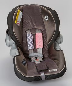Lolly Gags Silver Chevron & Paris Pink Reversible Car Seat Strap Cover Set by Lolly Gags #zulily #zulilyfinds