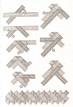 Плетежок-четырехконцовка с зубчиками и стадии его плетения. Книга: Плетение из соломки - от деда Василия ПЛЕТЕНИЕ