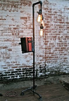 Industrial Floor Lamp Bookshelf Trifecta by stellableudesigns, $199.00