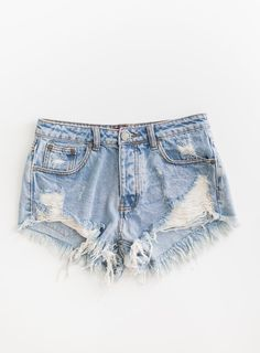 0ebbf18aa16 Classic light blue denim shorts with distressed detailing in front. Striped  cotton pockets underneath.